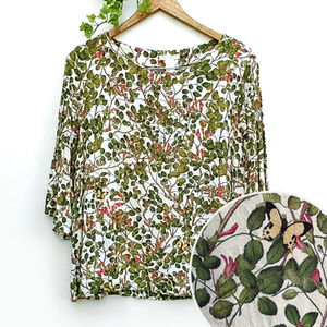 H&M Botanical Floral Butterfly Print Blouse